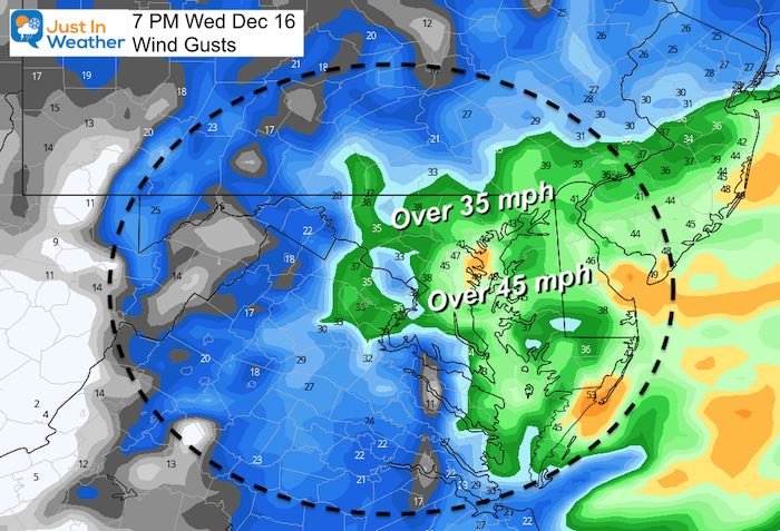 December 15 storm wind gusts Wednesday 7 PM