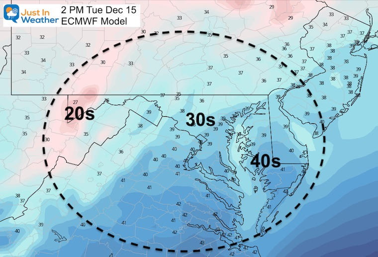 December 15 weather temperatures Tuesday afternoon