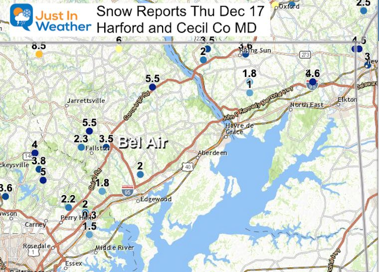 December 17 storm snow reports northeast Maryland