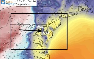December 19 temperatures Chirstmas Eve Arctic Front