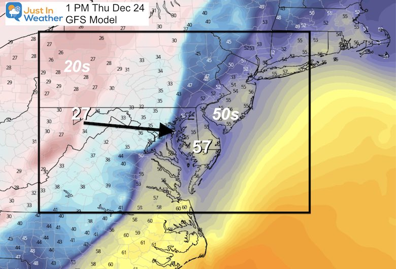 December 20 temperatures Christmas Eve GFS
