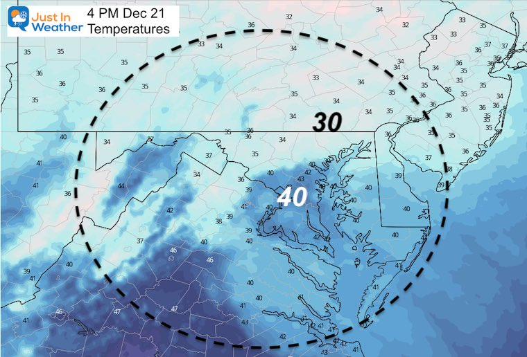 December 21 weather temperatures Monday afternoon