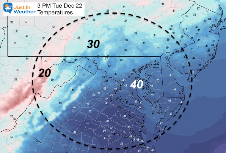 December 21 weather temperatures Tuesday afternoon