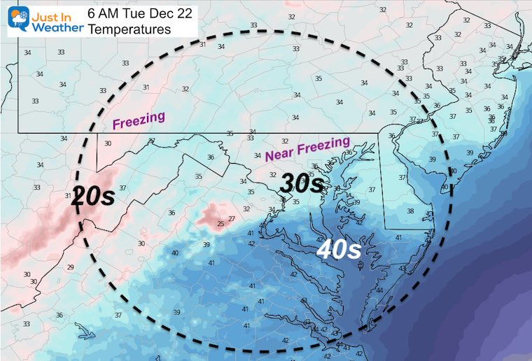 December 21 weather temperatures Tuesday morning