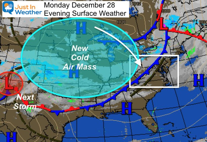 December 28 weather Monday evening