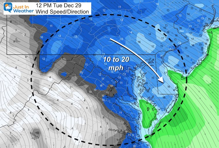 December 28 weather Tuesday Wind