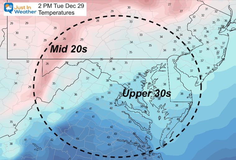 December 28 weather Tuesday temperatures afternoon