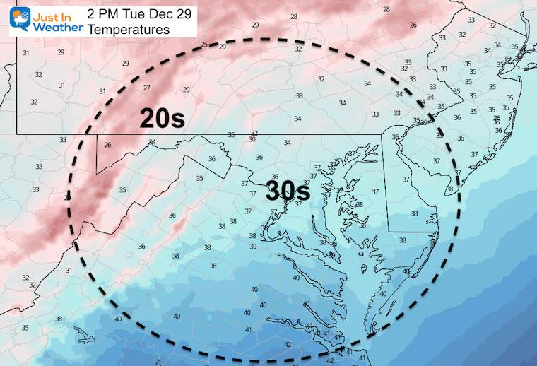 December 29 weather temperatures Tuesday