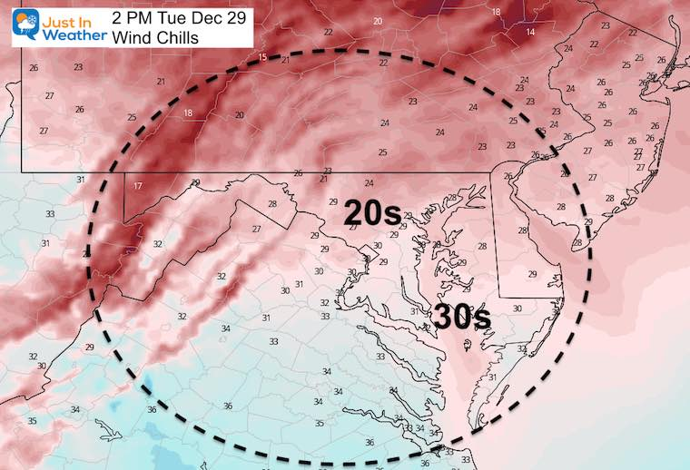December 29 weather wind chills Tuesday
