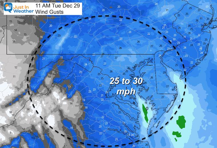 December 29 weather wind gusts Tuesday