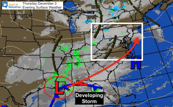 December 3 evening surface weather
