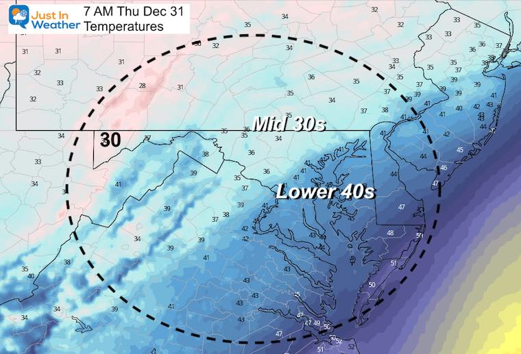December 30 weather Thursday temperatures morning