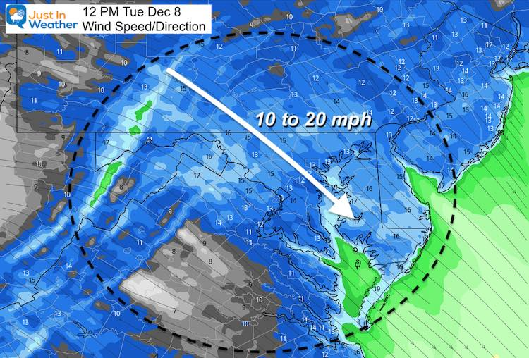 December 8 weather wind forecast Tuesday