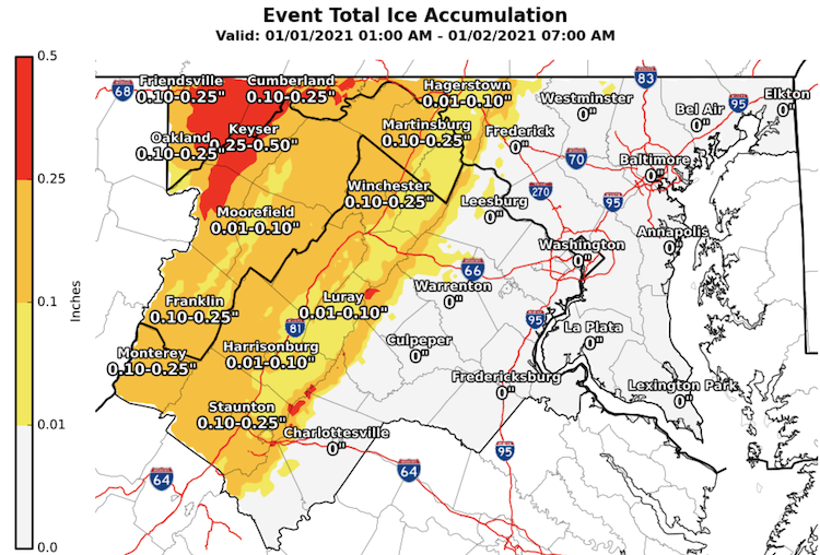 Ice Storm Accumulation New Years Day January 1 Maryland