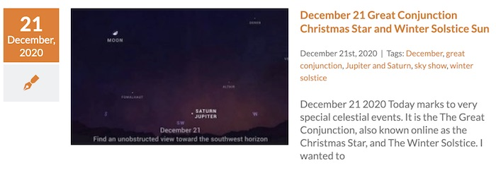 Winter Solstice And Christmas Star Planet Conjunction