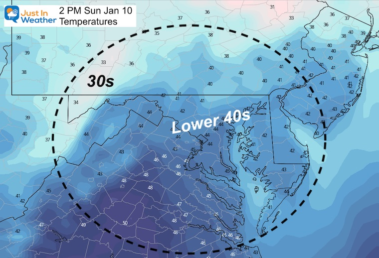 January 10 weather temperatures Sunday afternoon