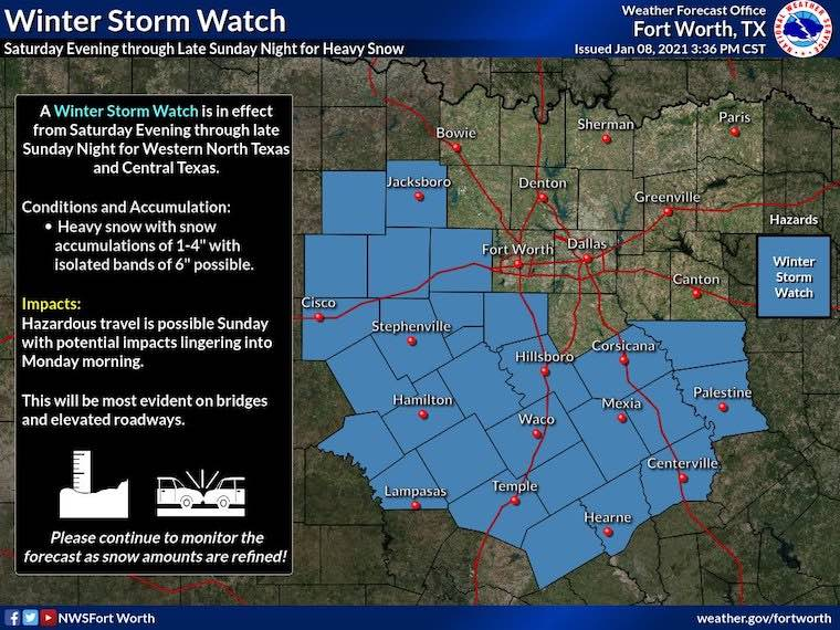 January 10 winter storm watch texas