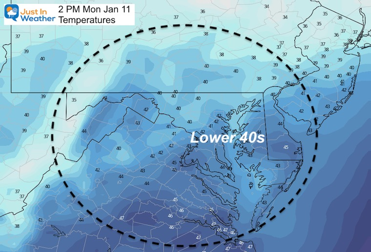 January 11 weather temperatures Monday afternoon