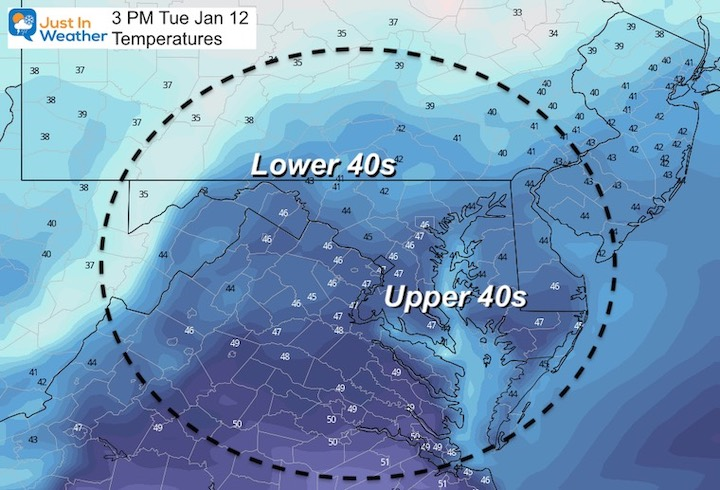 January 11 weather temperatures Tuesday afternoon