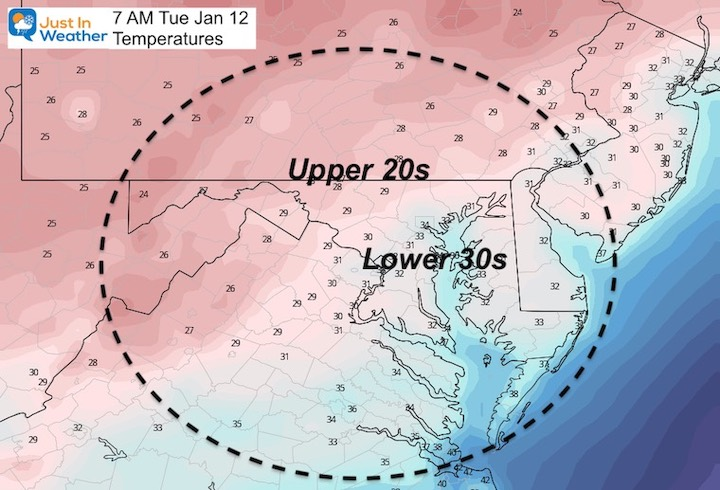 January 11 weather temperatures Tuesday morning