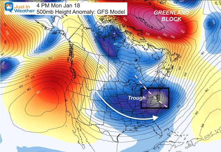 January 12 weather next Monday Jet Stream Cold