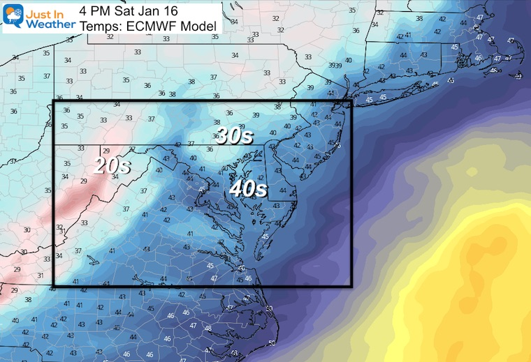 January 13 temperatures Saturday afternoon