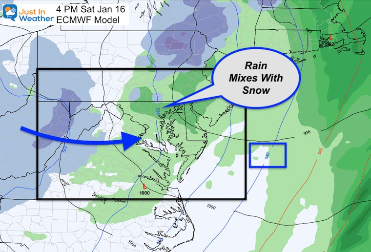 January 13 weather Saturday afternoon snow rain ECMWF