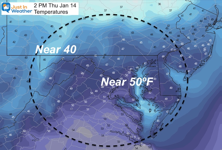 January 13 weather temperatures Thursday afternoon