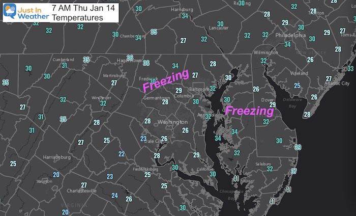 January 14 weather freezing temperatures Thursday morning