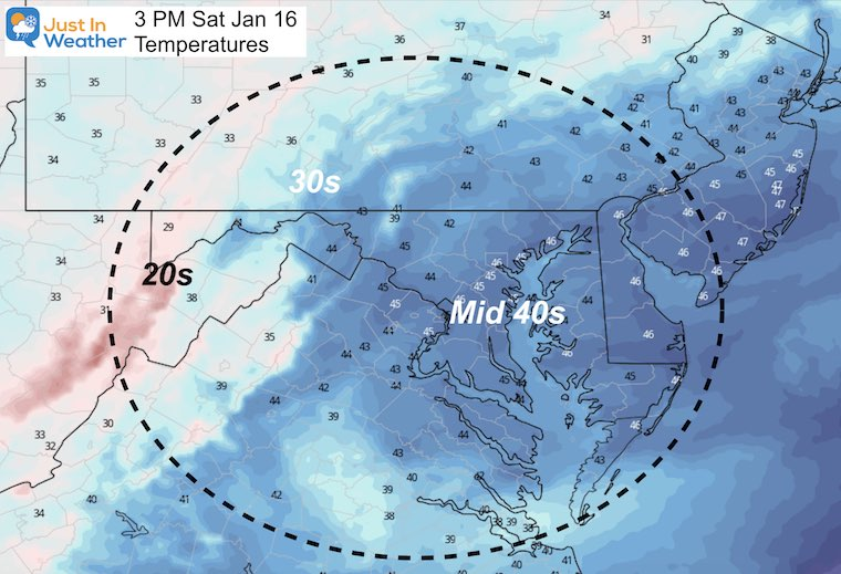 January 16 weather temperatures Saturday afternoon