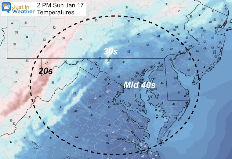 January 16 weather temperatures Sunday afternoon