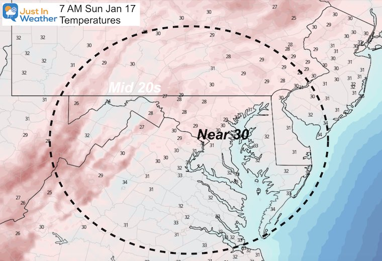 January 16 weather temperatures Sunday morning