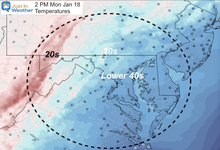 January 17 weather temperatures Monday afternoon