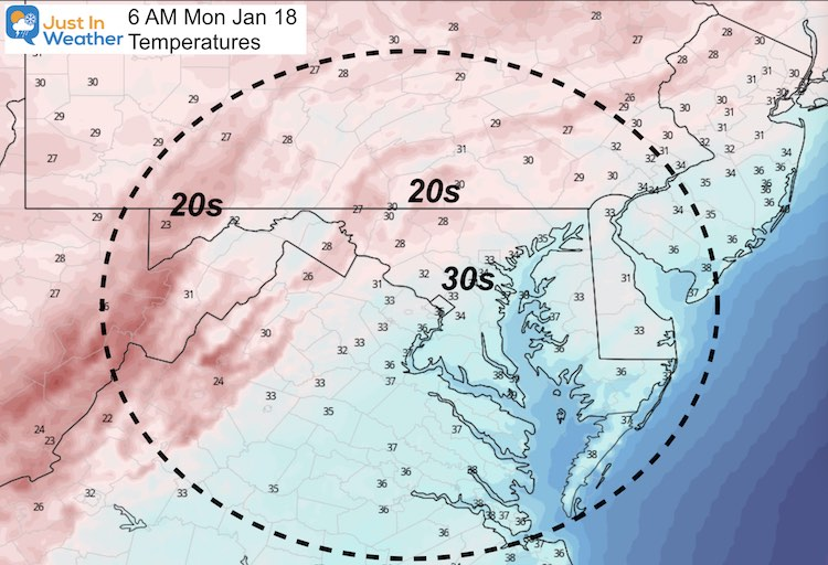 January 17 weather temperatures Monday morning