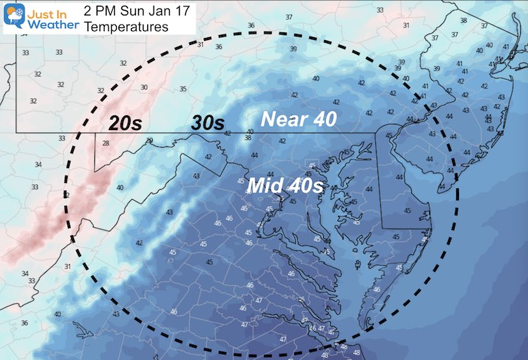 January 17 weather temperatures Sunday afternoon