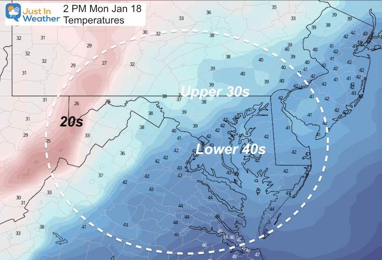 January 18 MLK Day weather temperatures Monday
