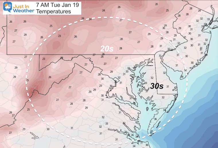 January 18 MLK Day weather temperatures Tuesday morning