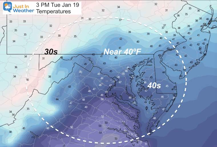 January 18 MLK Day weather temperatures Tuesday