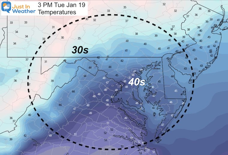 January 19 weather temperature Tuesday afternoon