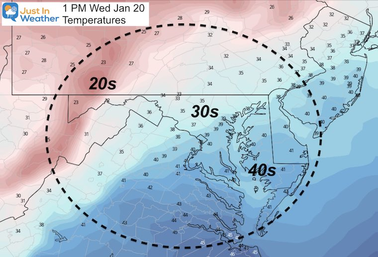 January 19 weather temperature Wednesday afternoon