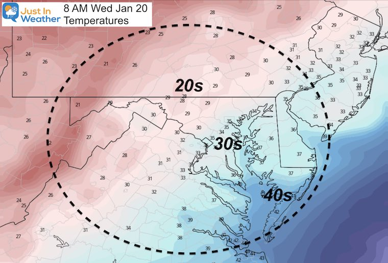 January 19 weather temperature Wednesday morning