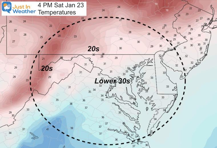 January 2 weather temperatures Saturday Afternoon