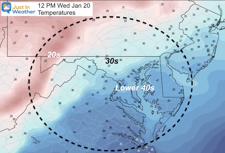 January 20 weather Inauguration temperatures