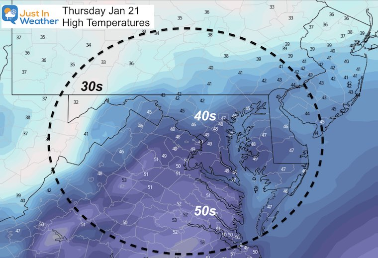 January 20 weather Thursday temperatures afternoon