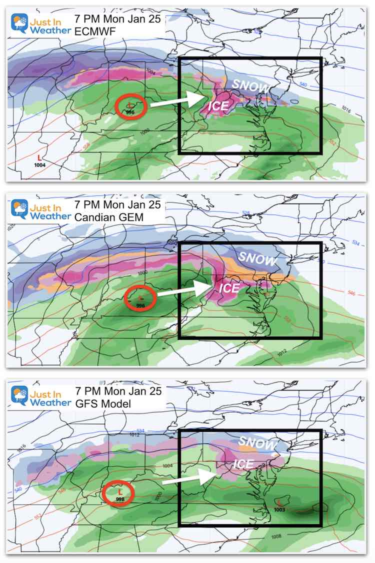 January 21 storm snow ice Monday Evening 3 Models