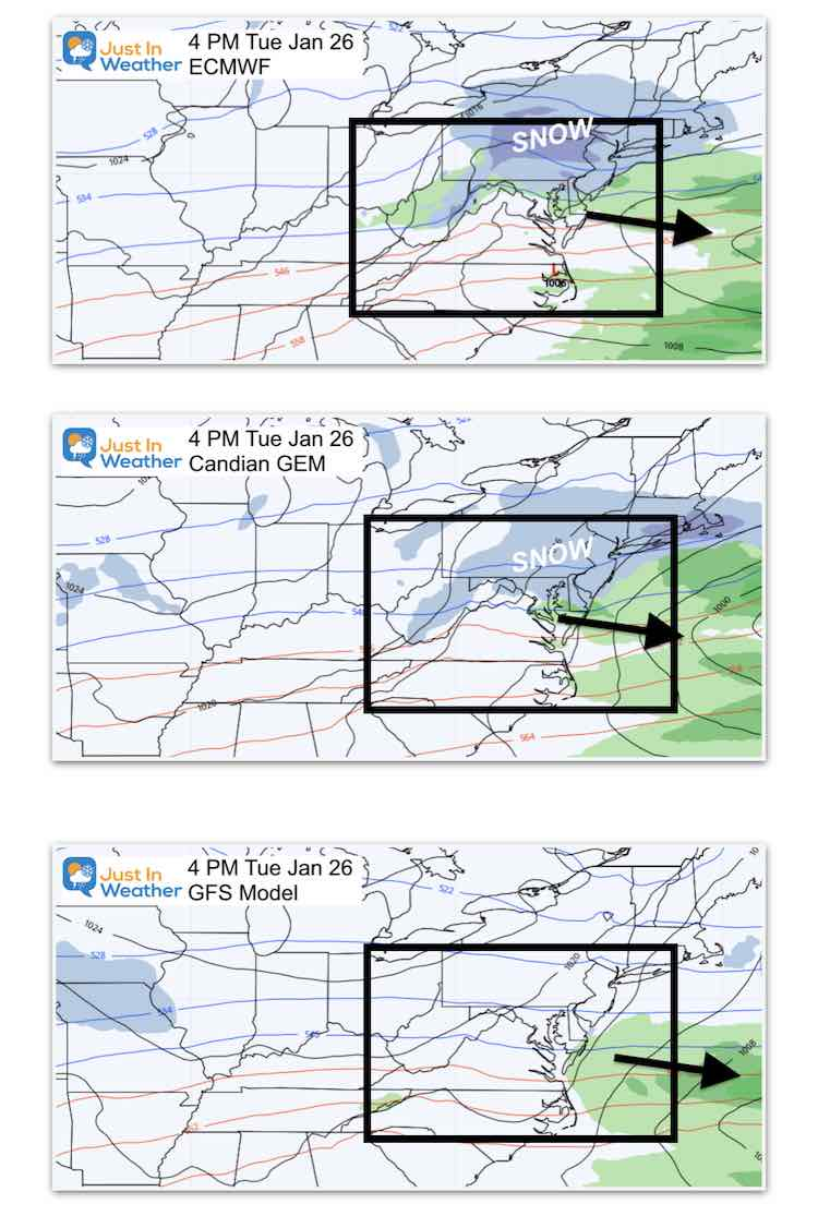 January 21 storm snow ice Tuesday Afternoon 3 Models