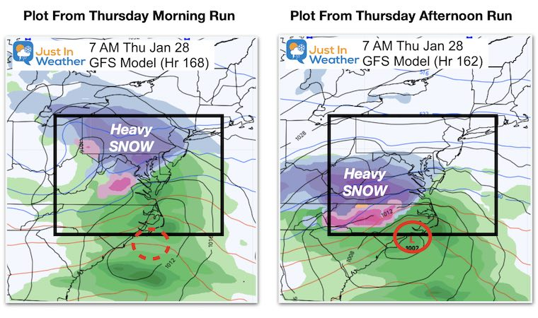 January 21 weather snow Thursday morning GFS Compariso