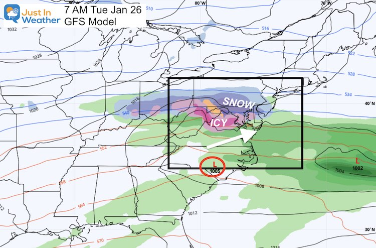 January 21 weather snow ice next Tuesday GFS