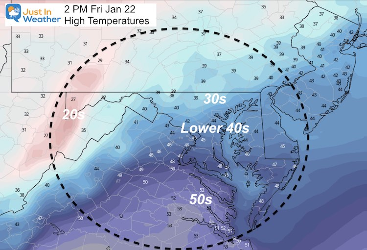 January 22 Weather Temperature Friday Afternoon