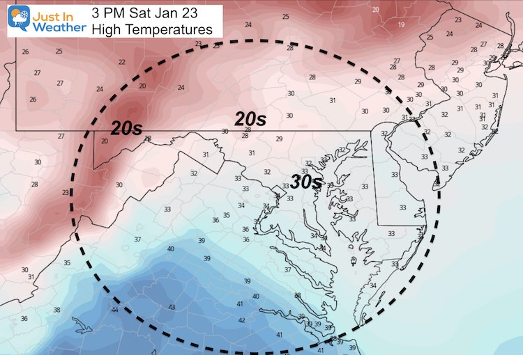 January 22 Weather Temperature Saturday Afternoon